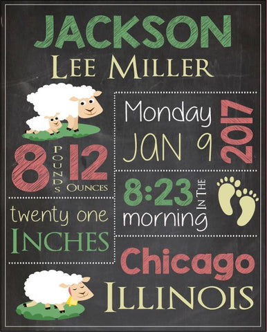 Sheep birth announcement sign. Sheep nursery art print. PRINTABLE new baby lamb Birth stats Sign. lamb birth statistics chalkboard print