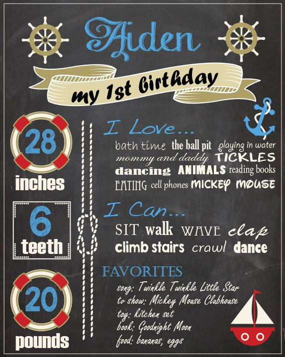 Nautical First Birthday Chalkboard sign. PRINTABLE nautical 1st birthday party decorations. boy chalkboard poster. photo prop.