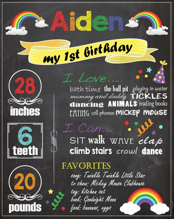 Rainbow Birthday Chalkboard sign. PRINTABLE First 1st birthday poster. rainbow birthday party decorations