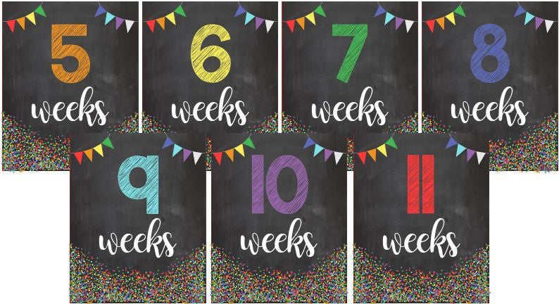Weekly Pregnancy signs INSTANT DOWNLOAD pregnant week by weeks chalkboard printable digital maternity