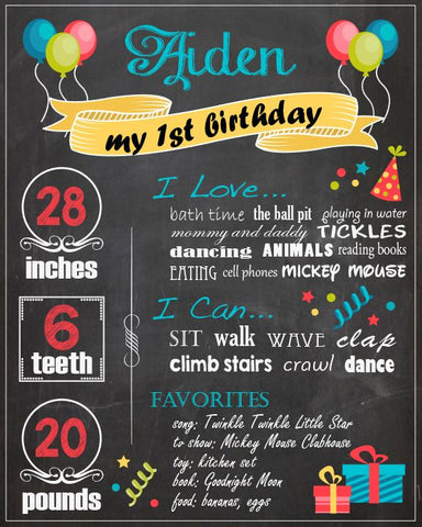First Birthday Chalkboard sign. boy. printable poster chalk board DIY digital customizable party print. 1st birthday party decorations.