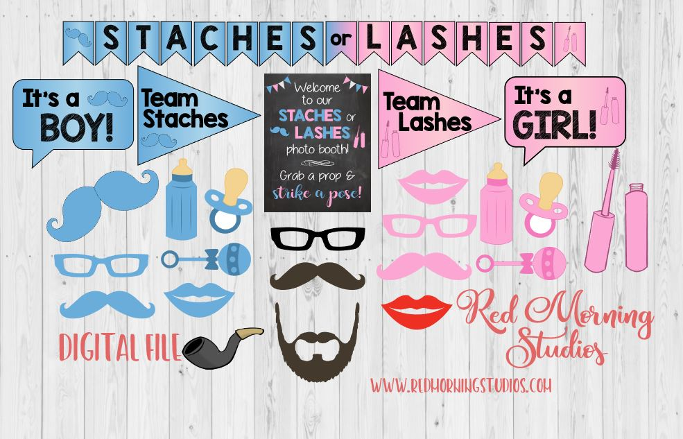 Staches Or Lashes Gender Reveal Photo Booth Props Printable Red
