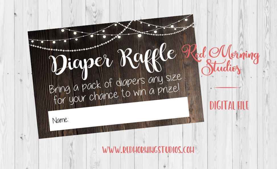 Diaper Raffle Tickets. rustic baby shower decorations DIGITAL
