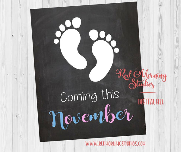 November Due Date Pregnancy Sign. PRINTABLE. Coming November 2018. Pregnancy announcement sign. Baby footprints sign. New Baby announcement