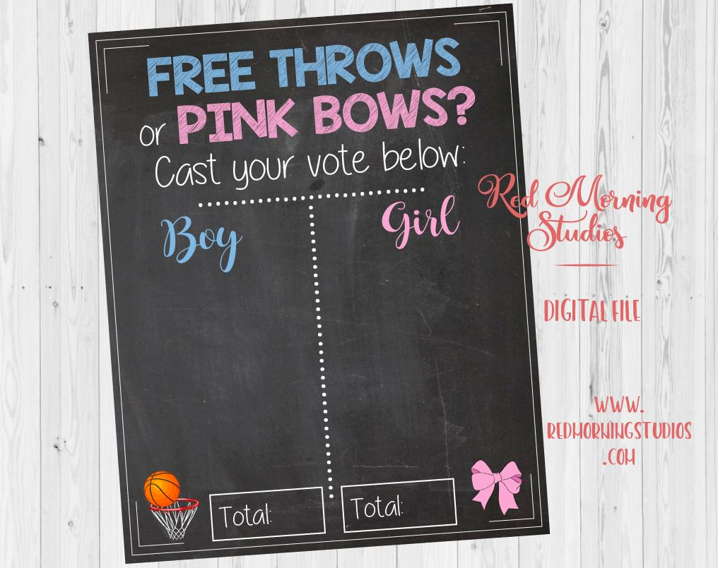 Free Throws or Pink Bows. PRINTABLE. Gender Reveal Guess sign. basketball or cheerleading gender reveal party theme.