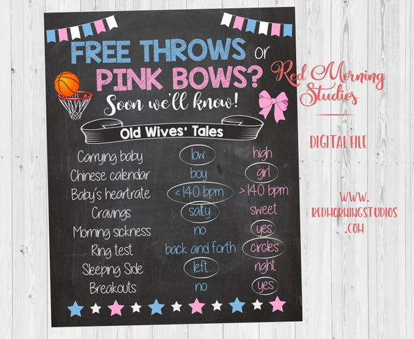 Free Throws or Pink Bows Old Wives' Tales sign - PRINTABLE