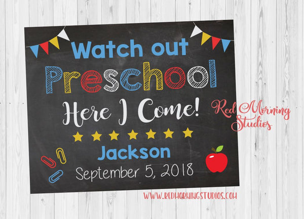 First Day of Preschool sign. PRINTABLE. watch out preschool here i come poster. starting preschool sign. custom back to school poster. prop