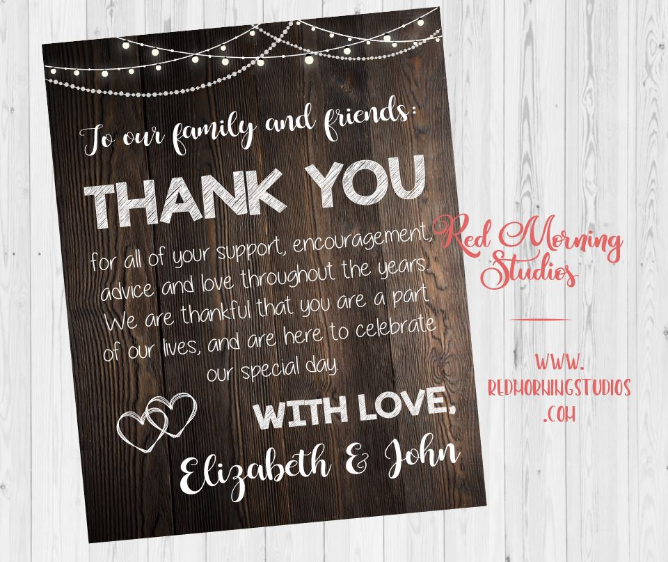 Wedding Thank You sign. rustic Wedding Thank You from the newlyweds. PRINTABLE. thank you from the couple poster. wedding reception
