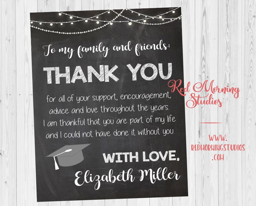 Graduation Party Thank You Sign Red Morning Studios