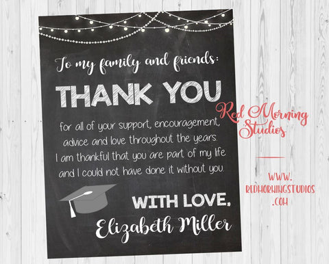 Graduation Party Thank You sign. Thank You from the Graduate poster. PRINTABLE Graduation thanks. Graduation party ideas.