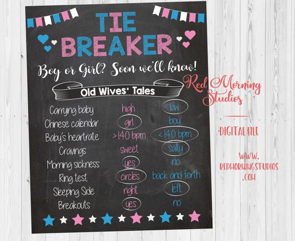 Tiebreaker Old Wives' Tales sign - PRINTABLE