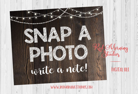 Snap a Photo write a note wedding sign. PRINTABLE. camera. rustic wedding photo favor. photo booth prop. photo guestbook. photo guest book.