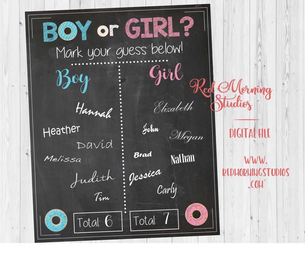 Donut Gender Reveal Guess sign - PRINTABLE - Red Morning ...