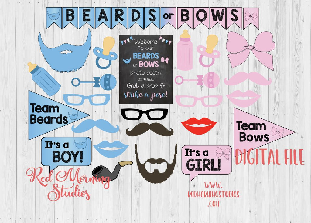 Beards or Bows Photo Booth Props. PRINTABLE. Beards or Bows Gender Reveal Party photo booth. photobooth. party games. decorations.