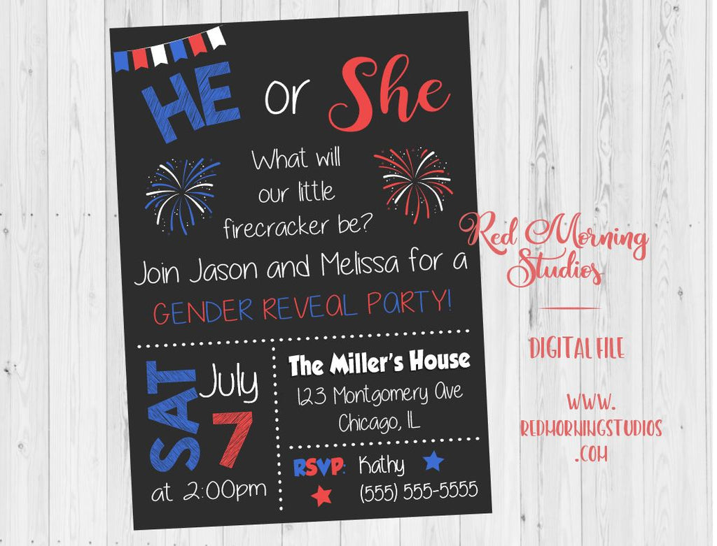 4th of July Gender Reveal Party Invitation. PRINTABLE baby shower. he or she. firecracker gender reveal party invite. firework