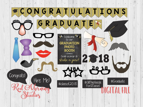 picture about Graduation Photo Booth Props Printable named Commencement photograph booth props. PRINTABLE. Cl of 2018