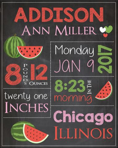 Watermelon Nursery Art print. Watermelon Birth Announcement Sign. PRINTABLE. custom Watermelon birth stats chalkboard print. new baby gift