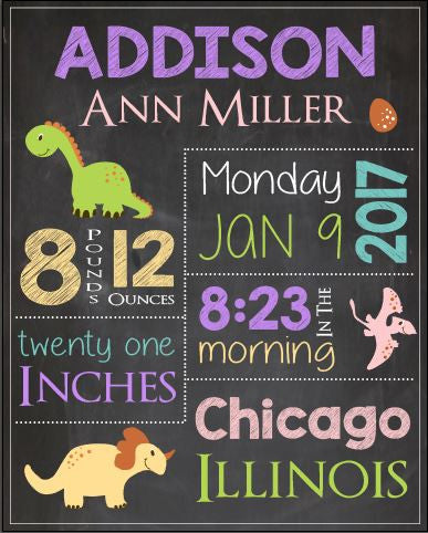 Girl Dinosaur nursery theme print. Girl Dinosaur Birth Announcement Sign. PRINTABLE new baby dino girly dinosaur birth stats chalkboard