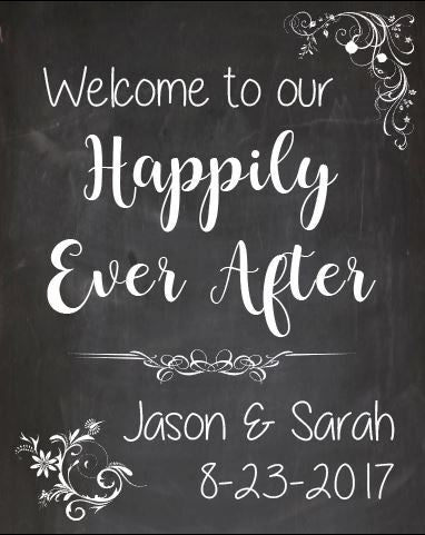 Happily Ever After sign. wedding welcome sign. chalkboard. fairy tale wedding sign. PRINTABLE welcome to our poster