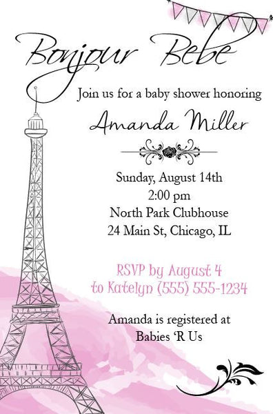 Paris Baby Shower Invitation DIGITAL shower invite printable party french france