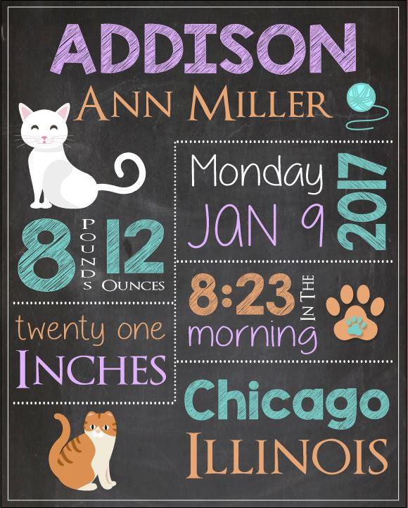 Cat Birth Announcement Sign. PRINTABLE new baby kitty cat nursery art print. cat birth stats chalkboard print. kitten new baby gift