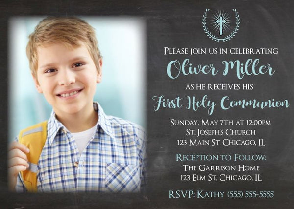 boys first communion invitation. printable. invitation with photo