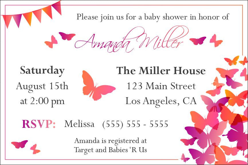 butterfly baby shower invitation printable