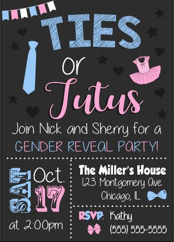 ties or tutus invitation gender reveal party
