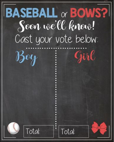 Baseball or Bows Gender Reveal Guess sign baby shower chalkboard PRINTABLE poster boy or girl red or blue