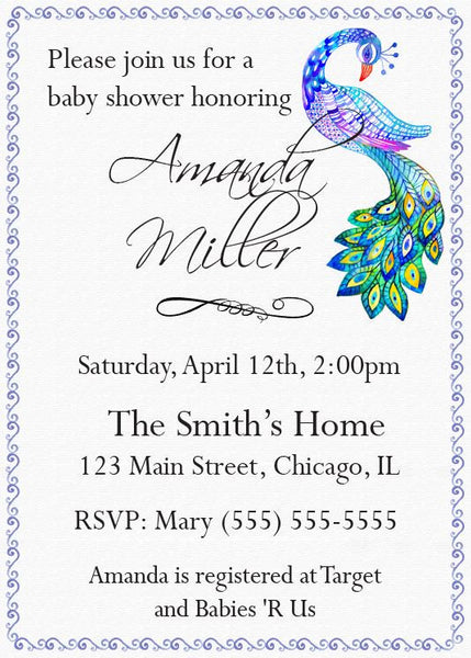 peacock baby shower invitation printable