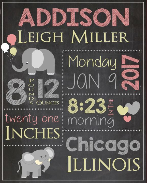 Elephant Birth Announcement Sign. new baby girl elephant nursery theme custom art print. DIGITAL birth stats chalkboard print. new baby gift