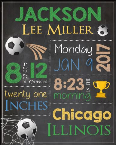 Soccer Birth Announcement sign. PRINTABLE. soccer birth stats print. new baby soccer nursery decor art. chalkboard. football. new baby gift