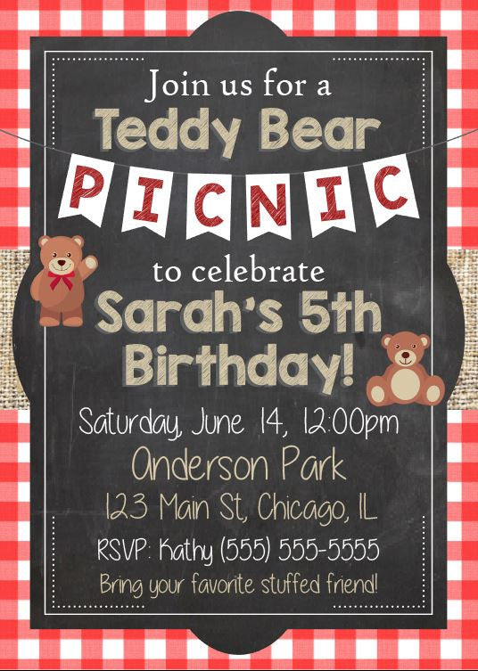 Teddy Bear Picnic Birthday Invitation. PRINTABLE teddy bear birthday invitation. Picnic Birthday invitation teddy bear picnic birthday party