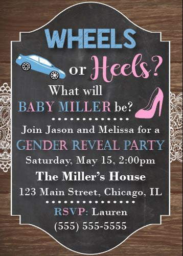 Wheels or Heels gender reveal party invitation Wheels or Heels
