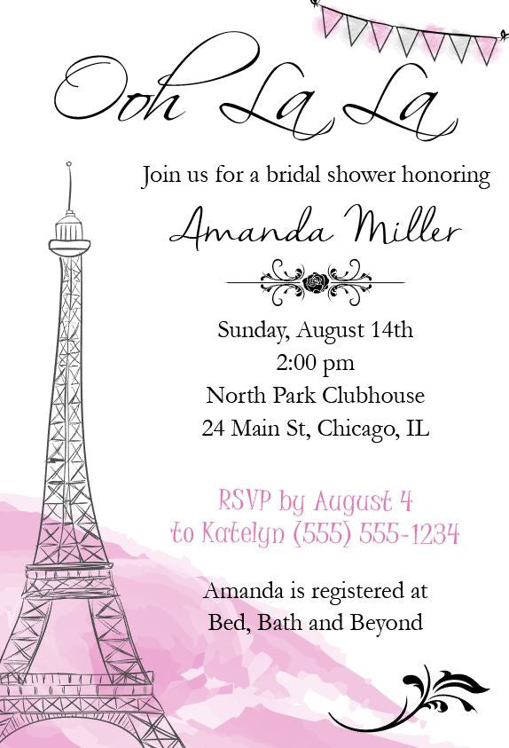 photo relating to Bridal Shower Invitations Printable named Paris Bridal Shower Invitation - PRINTABLE