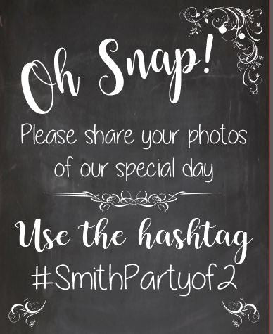 Wedding Hashtag chalkboard sign. Wedding Photo Booth welcome sign. Social Media hash tag. share Oh Snap. photobooth