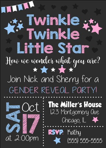 twinkle little star. how i wonder what you are. gender reveal invitation