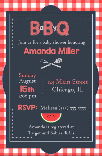 Picnic Baby Shower Invitation DIGITAL babycue bbq shower invite printable baby-q party gender neutral barbecue