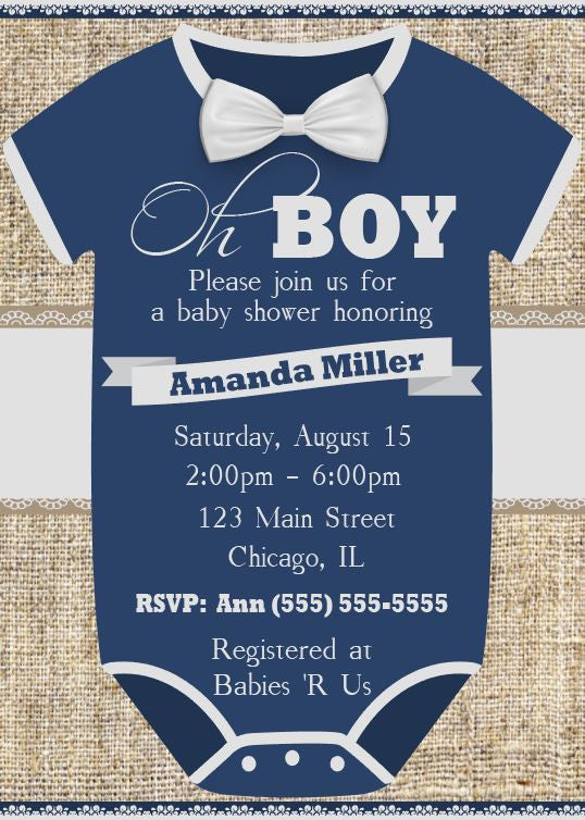 graphic about Printable Baby Shower Invitations Boy called Oh Boy! Little one Shower Invitation - PRINTABLE