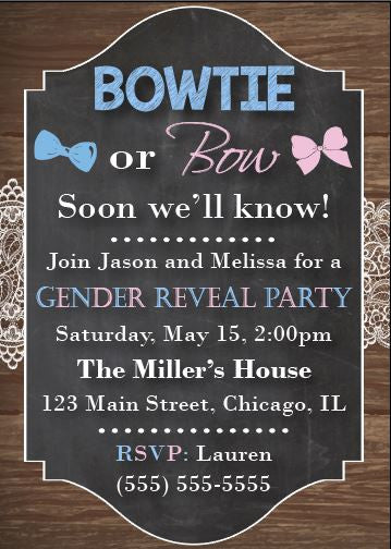 Bowtie or Bows? Soon we'll know! gender reveal invitation