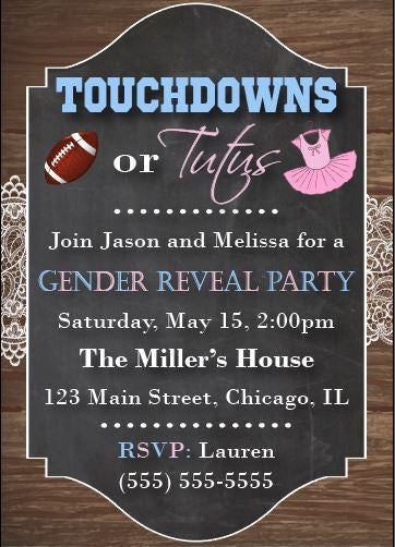 touchdowns or tutus invitation gender reveal party. football