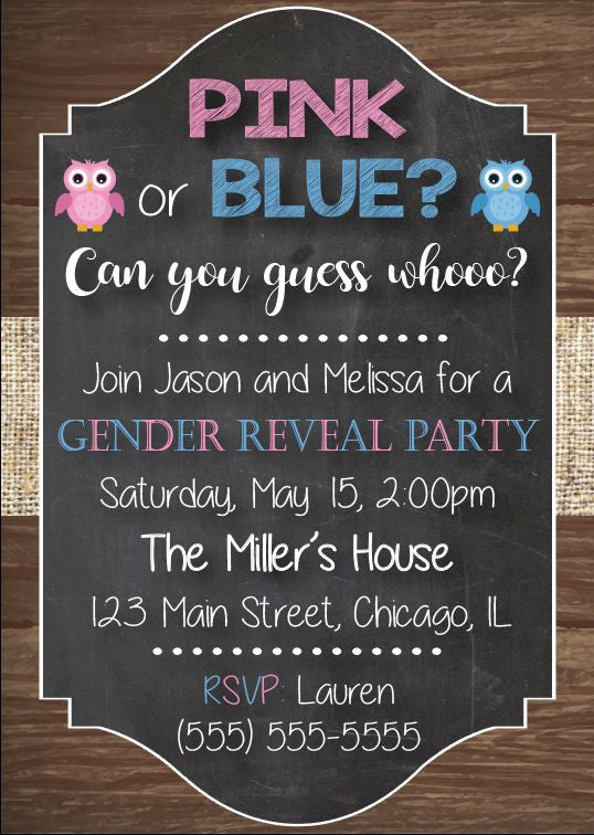Pink or Blue Can you Guess Whooo? Owl gender reveal invitation