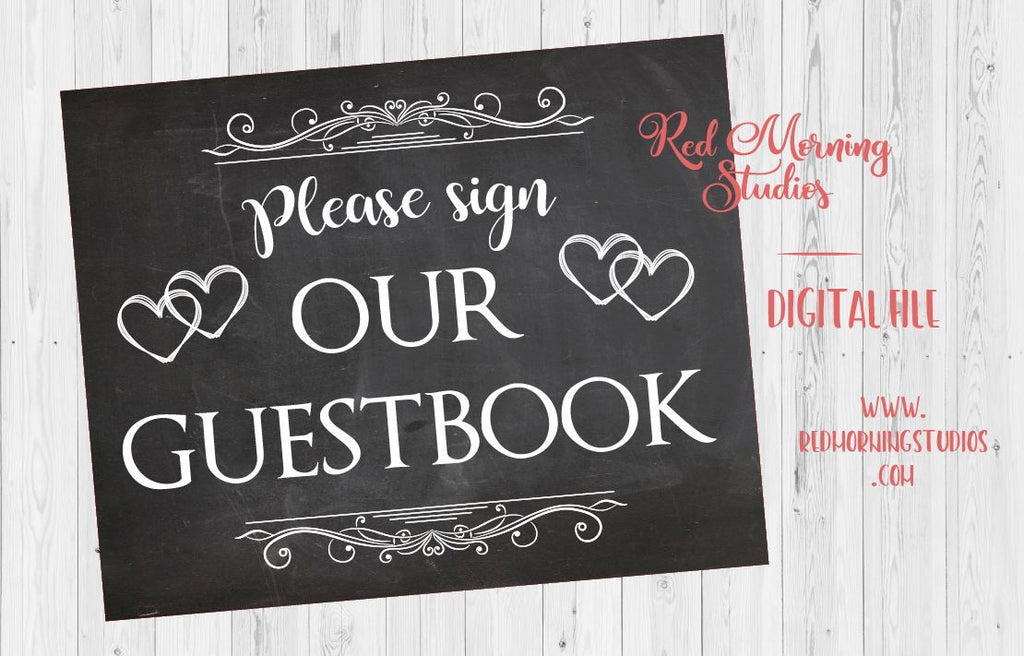 photo about Please Sign Our Guestbook Printable identified as Wedding ceremony Visitor Ebook chalkboard signal Electronic
