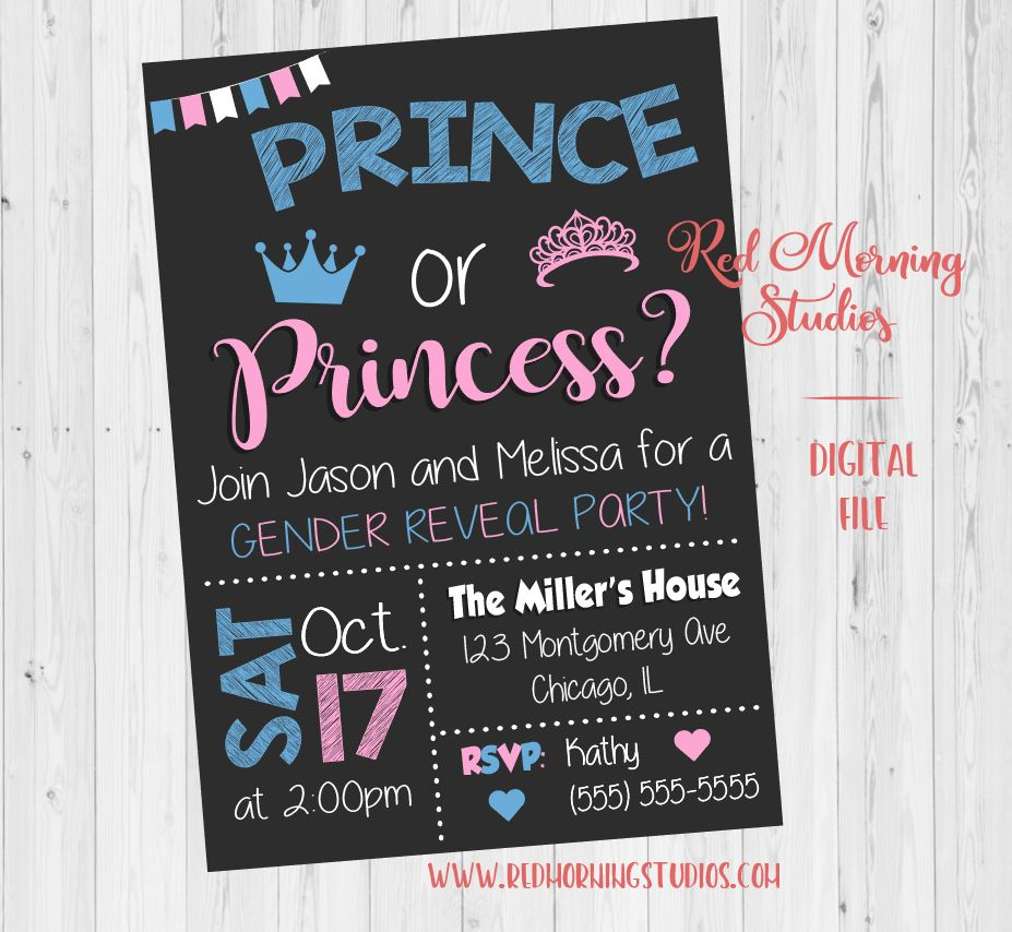 prince or princess invitation  gender reveal party
