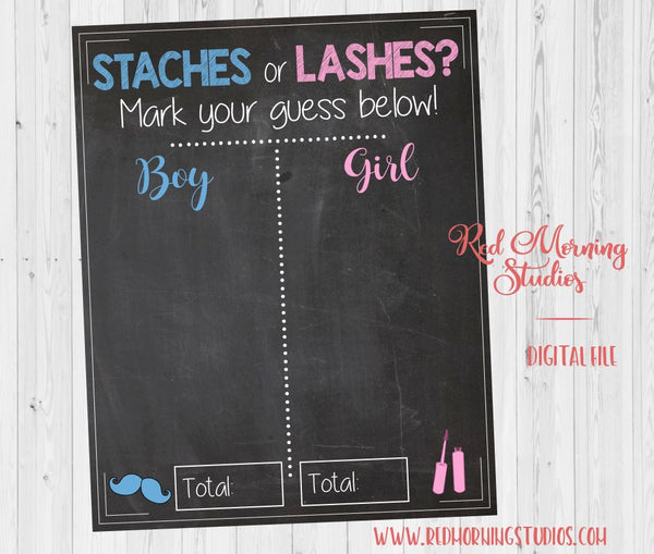 Staches or Lashes Gender Reveal Guess sign. PRINTABLE baby shower chalkboard poster boy or girl. stashes or lashes. boy or girl.