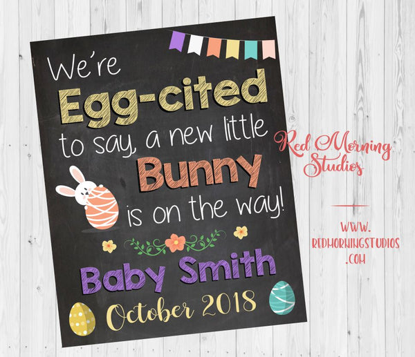 Easter Pregnancy Announcement sign. Easter pregnancy reveal poster. Spring New baby photo prop. eggcited to say. new bunny on the way.