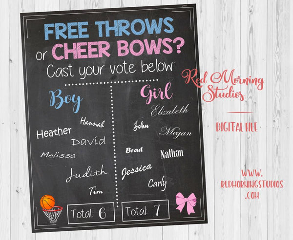 Free Throws or Cheer Bows Gender Reveal Guess sign - PRINTABLE
