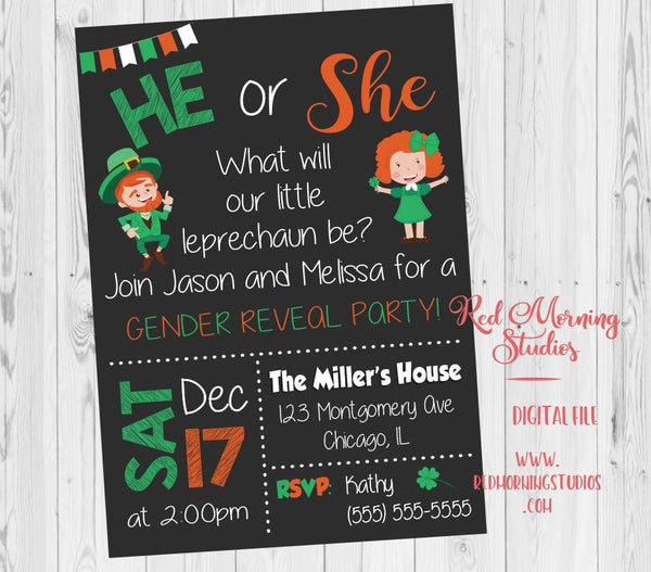St Patrick's Day Gender Reveal Party Invitation. PRINTABLE. leprechaun. baby shower invite. he or she what will it be clover invite. digital