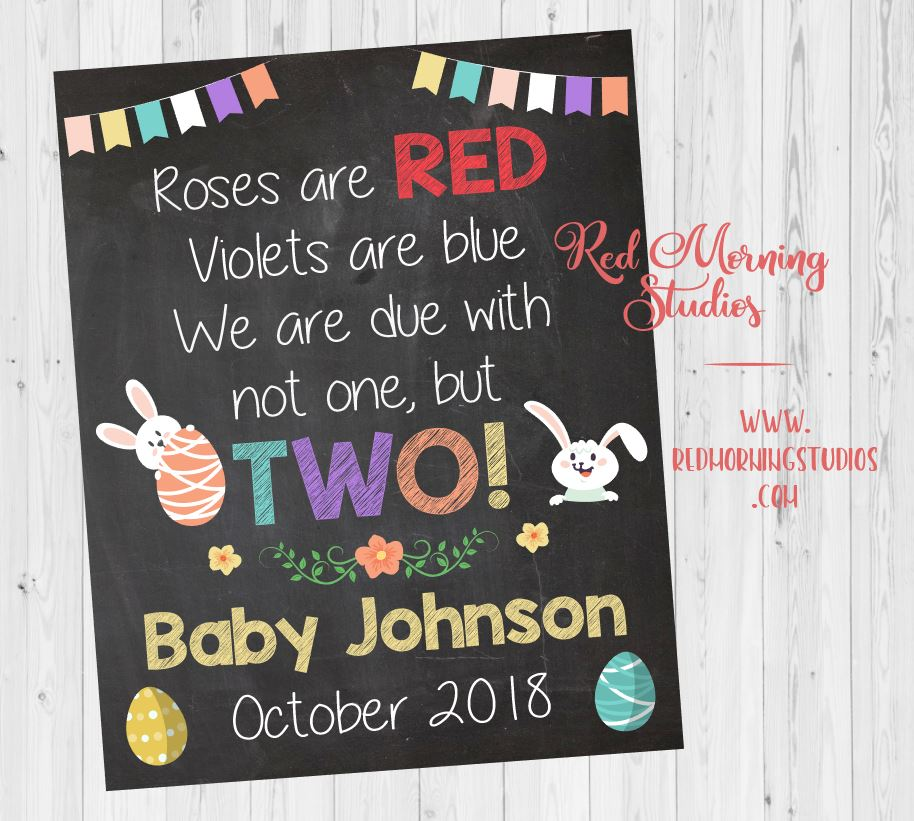 Easter Twins Pregnancy Reveal poster. Easter twins pregnancy announcement sign. Spring New baby photo prop. social media. due with two