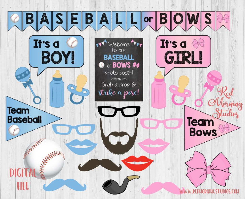 Baseball Or Bows Gender Reveal Photo Booth Props Printable Red